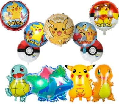 Pokemon Pikachu Charmander Squirtle Helium Birthday Balloons Large Age Number • 2.99£