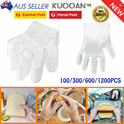 AU16.99 • Buy 100-1200PCS Disposable PE Plastic Clear Gloves Kitchen Restaurant Food Cleaning