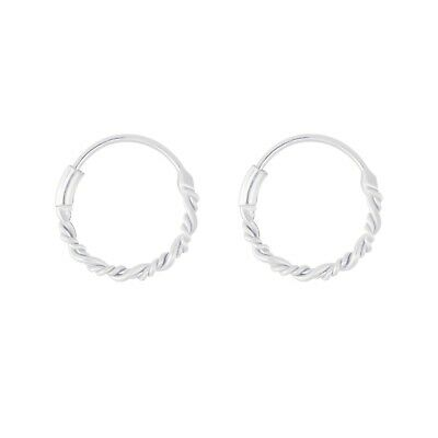 AU10.95 • Buy 925 Sterling Silver Petite Twisted Hoop Huggies Earrings