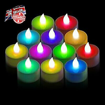 Set Of 12/24 LED Candle Tea Lights T Light Flameless Flickering Colour Changing • 11.50£