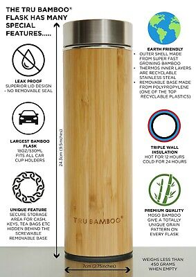 Bamboo Vacuum Flask 530 Ml /18 Fl Oz Thermos Tumbler Tea Infuser With Strainer   • 17.99£