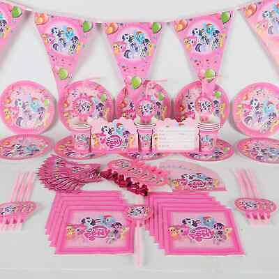 My Little Pony Birthday Party Table Cover Cups Plates Buntings Hats Balloons  • 3.49£