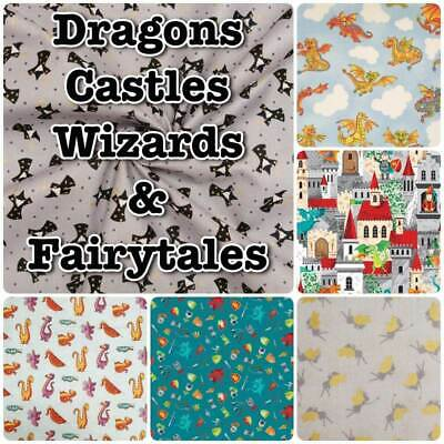 £3.10 • Buy DRAGON Knight Castle Fairytale Magical Wizard 100% Cotton Patchwork Craft Fabric
