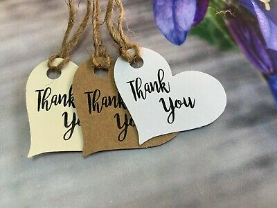 Heart Thank You Tags Thanks Wedding Birthday Christmas Special Day Handmade H77a • 0.99£