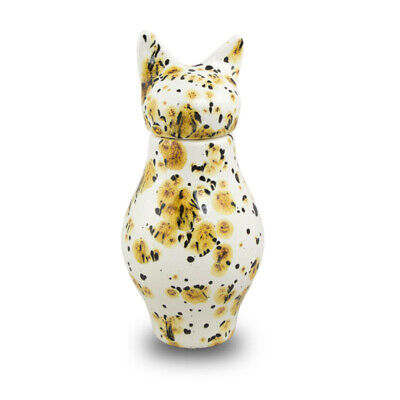 $99.95 • Buy Ceramic Pet Cremation Urn For Ashes - Small Calico Yellow