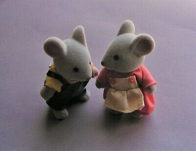 $10 • Buy Pair Of (2) Vintage Miniature Fuzzy Felt Mice Figurines With Velcrow Clothes