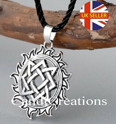 Norse Viking Solar Star Lada Sign Talisman Amulet Cord Pendant Necklace • 4.50£