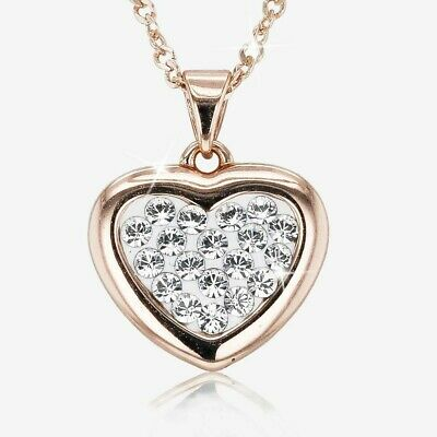 Silver Swarovski® Crystals Rose Gold Finish Heart Necklace • 49.99£