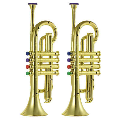 2x Plastic Trumpet With 3 Colored Keys For Kids Early Developmental Toy Gold • 48.21£