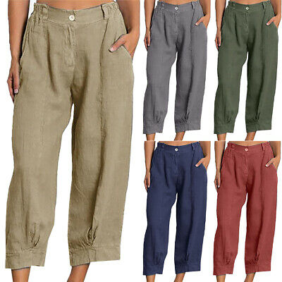 Women Summer Casual Cotton Linen Baggy Harem Plus Size Trousers Cropped Pants UK • 12.15£