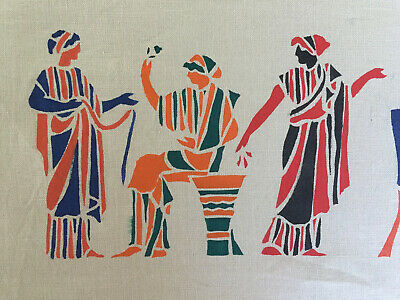 $24.47 • Buy VTG Greek Figures Fabric Fates Goddess Spinning Khaki Border Screen Print 5 Pc