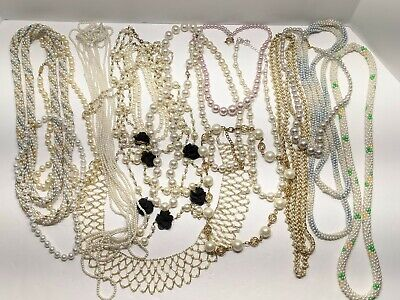 $ CDN20.71 • Buy Vintage Costume Jewelry Lot Faux Pearls Necklaces And Bracelet All Wearable R1