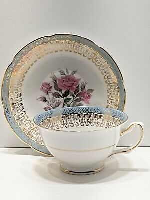 $15.50 • Buy Royal Grafton Bone China Sky Blue And Wide Gold Lace Tea Cup & Saucer Pink Rose