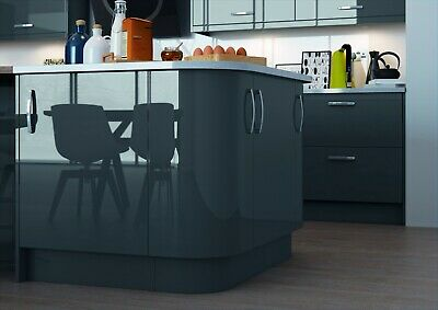 Deluxe Replacement Kitchen Cabinet Slab Doors & Drawers Vivo Gloss Anthracite • 18.99£