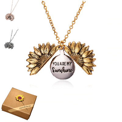 AU7.99 • Buy Sunflower You Are My Sunshine Necklace Children Gold Silver Gift Pendant Locket