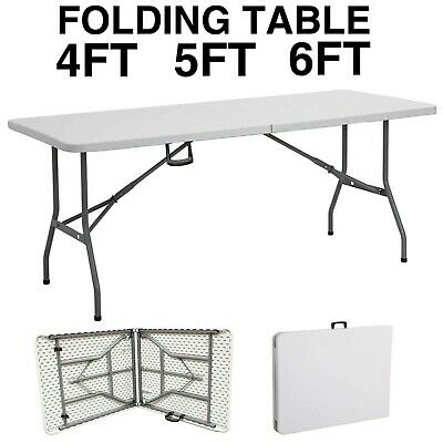 Heavy Duty Folding Table Portable Plastic Camping Garden Party Trestle 4ft 5ft 6 • 36.99£