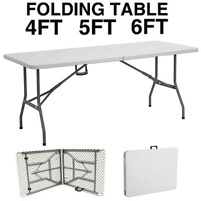 Heavy Duty Folding Table Portable Plastic Camping Garden Party Trestle 4ft 5ft 6 • 32.99£
