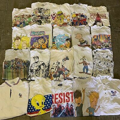 $ CDN244.39 • Buy Vintage Wholesale T Shirt 20 Lot 00s Bundle Cartoons Disney Nick Marvel Reptiny