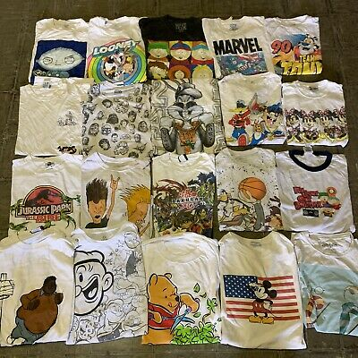 $ CDN244.39 • Buy Vintage Wholesale T Shirt 20 Lot 00s Bundle Cartoons Disney Nick Marvel Reprint