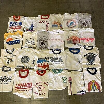 $ CDN305.48 • Buy Vintage Wholesale T Shirt 24 Lot Graphic 80s 90s Bundle Ringer Random Misc