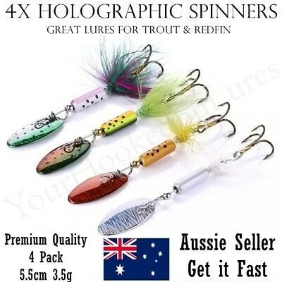 AU7.95 • Buy 4 X Fishing Freshwater Spinner Lures, Trout Lure, Redfin, Perch, Bass, Tackle