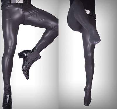 $34.99 • Buy Men PU Leather Pants Stretchy Skinny Pantyhose Slim Footed Tights Trousers