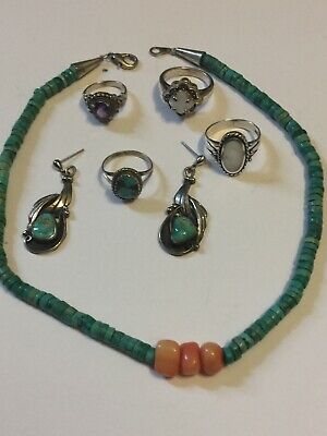 $ CDN55.22 • Buy Old Pawn Sterling Silver Turquoise Jewelry Lot Very Nice