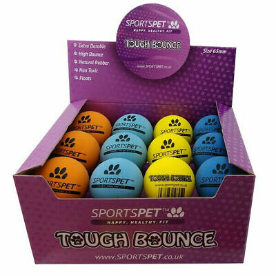 SPORTSPET Tough Bounce Dog Balls Throw Fetch Fun Play Floating Natural Rubber • 6.95£