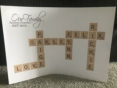Personalised Scrabble Print HOME Wall Art Handprints Gift Picture Poster A4 • 6.95£