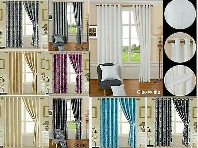 Pair Of Jacquard Ring Top Eyelet Curtains Fully Lined OR Cushion Covers • 50.99£