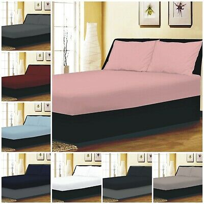 25CM DEEP Fitted Sheet Single Double King Super King Bed Size OR Pillow Cases • 8.49£
