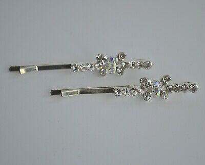 2 X Clear & AB Crystal Hair Grips/slides.Diamante/rhinestone Butterfly Line/row • 3.15£