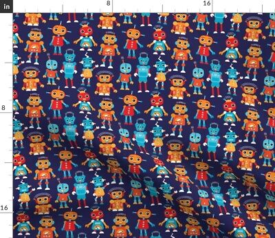 $22 • Buy Boys Blue Robots Robot Futuristic Computer Fabric Printed By Spoonflower BTY