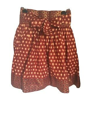 $45.99 • Buy African Ankara Short Fabric,mini Skirt- Beige, Gold And Maroon Color