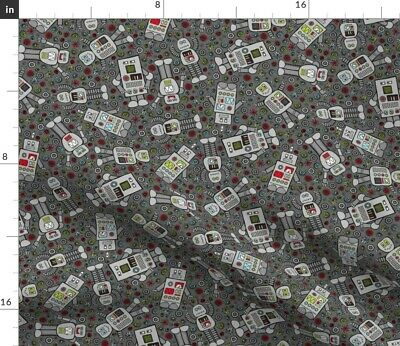$20.50 • Buy Robot Nerd Geek Computer Technology Retro Fabric Printed By Spoonflower BTY