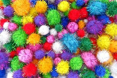 100 Craft Glitter Pom Poms Fluffy Balls Mixed Sizes Kids Arts Crafts Decorations • 105.95£