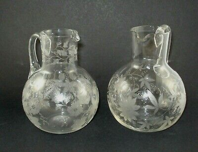 Two Good Quality Victorian Acid Etched Glass Jugs, Circa 1870 • 9.99£