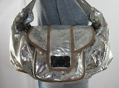 $79 • Buy TREESJE Large Silver Leather Shoulder Hobo Tote Satchel Slouch Purse Bag