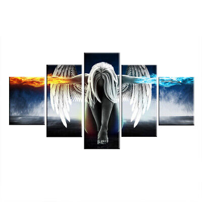 5 Pieces Angel Wings Canvas Printing Painting Set Home Wall Art Picture Decor UK • 11.39£