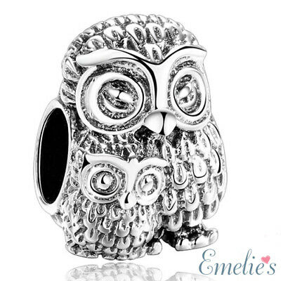Mother Owl And Baby Owl Charm For Bracelet. Authentic 925 Sterling Silver • 12.99£