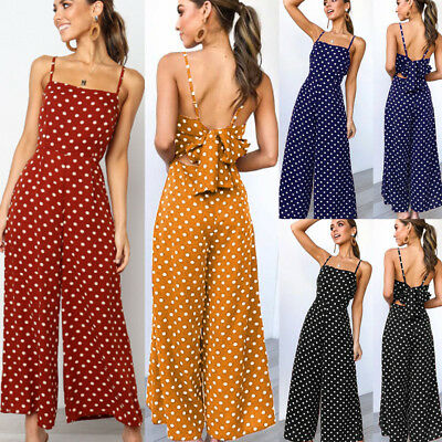 Womens Polka Dot Jumpsuit Sleeveless Wide Leg Pants Backless Strappy Playsuits • 10.59£