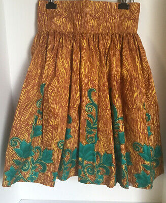 $45.99 • Buy African Ankara Short Skirt- Sunflower Yellow, Brown And Green Color