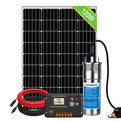 12V Deep Well Submersible Water Pump System :120W  Solar Panel Kits & Solar Pump • 212.60£