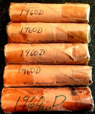 $9.50 • Buy 5 1960-D Memorial Cent OBW Rolls Issude By The First National Bank Of St Louis
