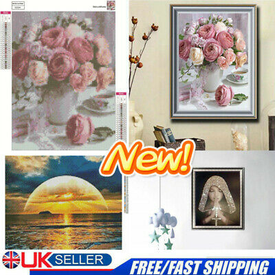 5D Diamond Painting Stitch Cross Embroidery Flower Animal Sunset Home Decor UK • 4.85£