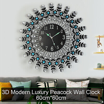 AU45.99 • Buy Large Modern 3D Crystal Wall Clock Luxury Round Dial Black Drops Home Office AU