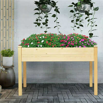 Wooden Garden Vegetable Trough Raised Planter Grow Bed Trug Flower Herbs Box • 69.97£