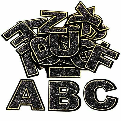 £1.49 • Buy Black Letter Patch Patches Iron On Sew On Retro Alphabet Embroidery Clothes Gold