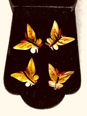 $26 • Buy  Vintage Antique French Hand Painted Butterfly Celluloid/ Resin Buttons Lot Of 4