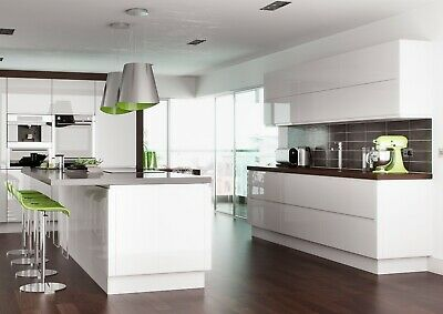 Deluxe Replacement Kitchen Cabinet Handleless Doors -Lucente Gloss White • 21.89£